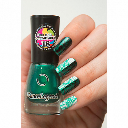 Лак для стемпинга Dance Legend №18 Metallic green 6.5 мл